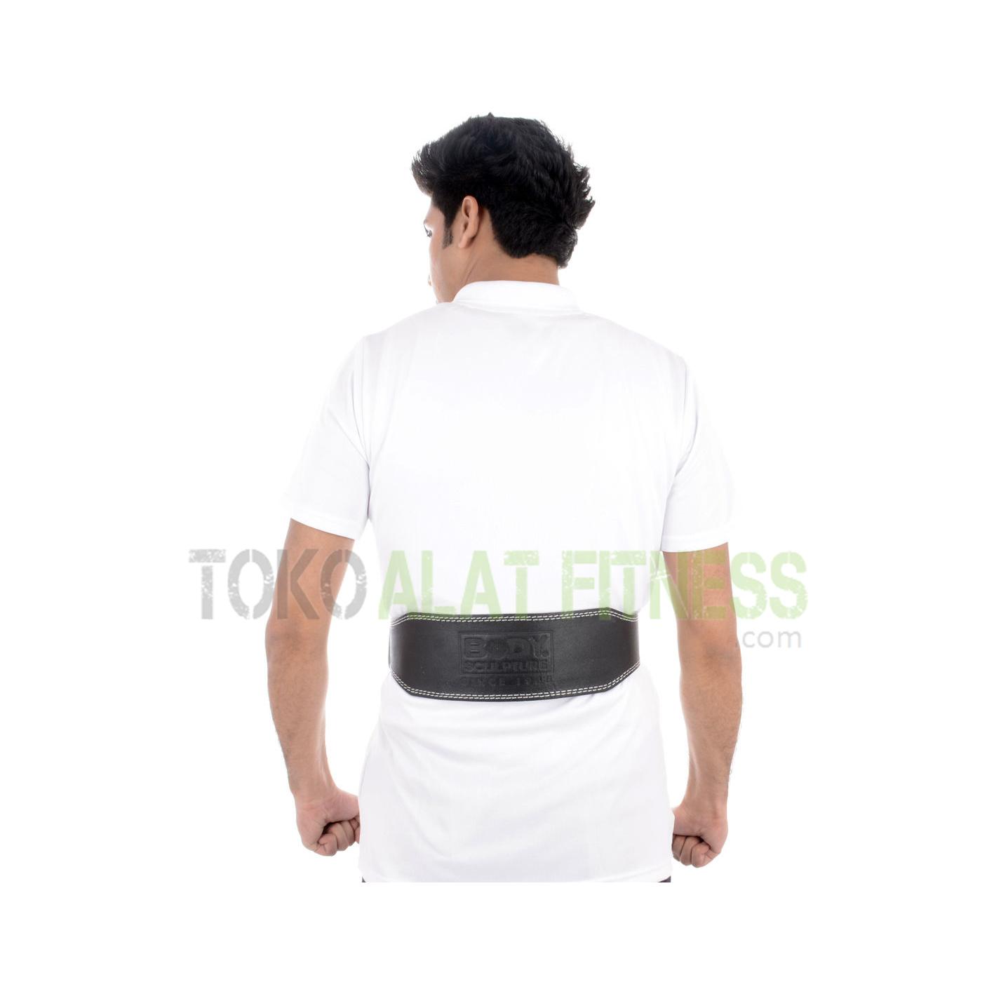 sabuk kulit bs2 - Sabuk Fitness Kulit (Weight Lifting Belt) M Hitam Body Sculpture