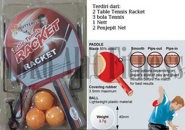 Table Tennis Racket Set2 1 - Table Tennis Beater + Ball + Nett