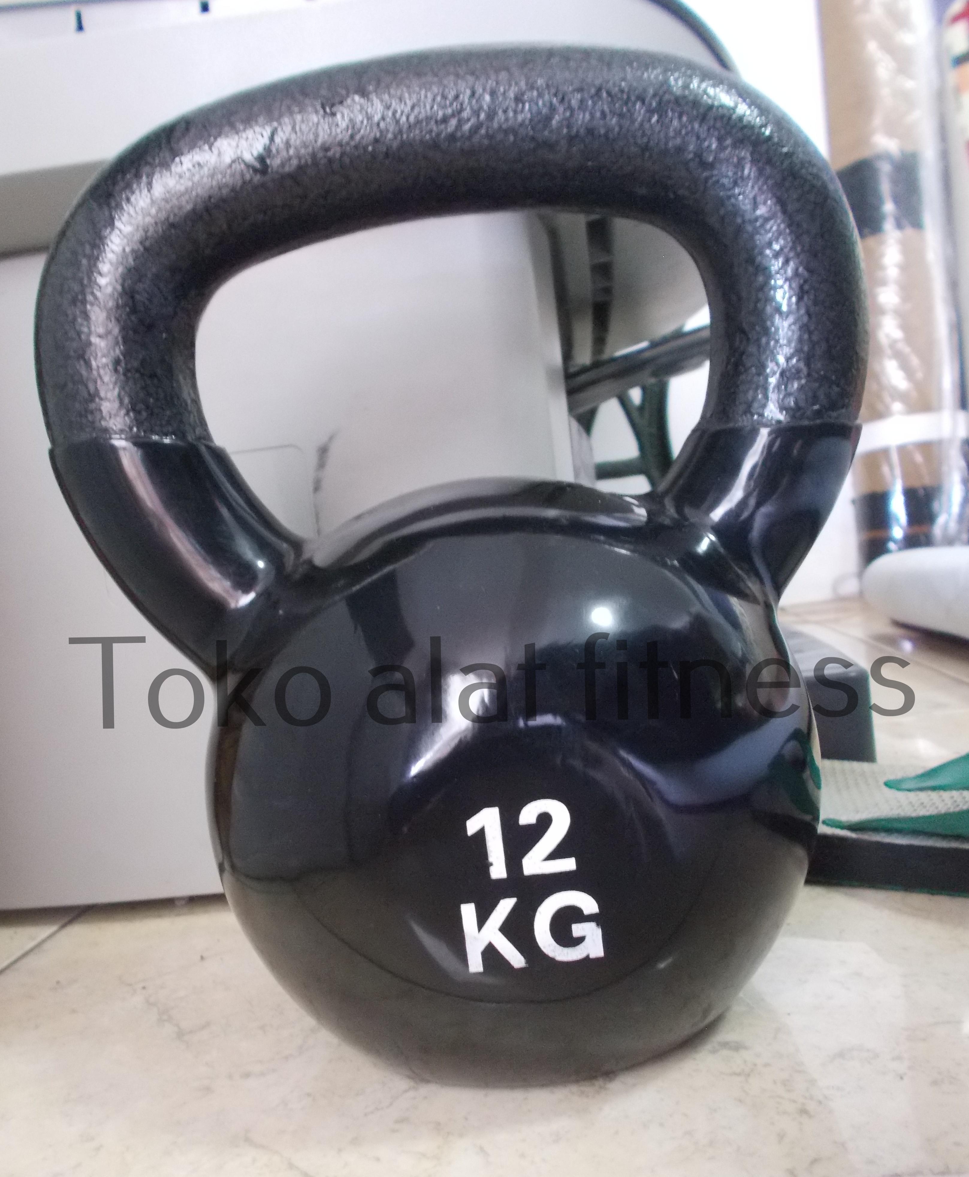 Kettlebell Vynil 12kg Body Gym - Kettlebell Vinyl 12kg (Import) Hitam Body Gym