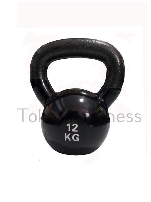 kettlebell 12kg edit 1 - Kettlebell Vinyl 12kg (Import) Hitam Body Gym