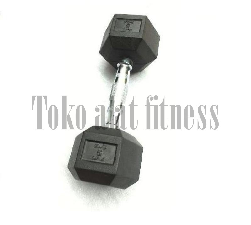Dumbell Rubber HEX 5kg - Dumbell Rubber HEX 5 Kg Body Gym