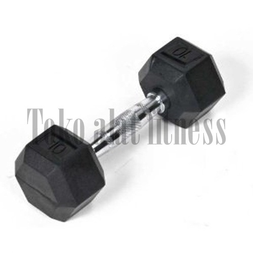 Dumbell Rubber Hexagonal 10 1 - Dumbell Rubber HEX 10 Kg Body Gym - DRH22A