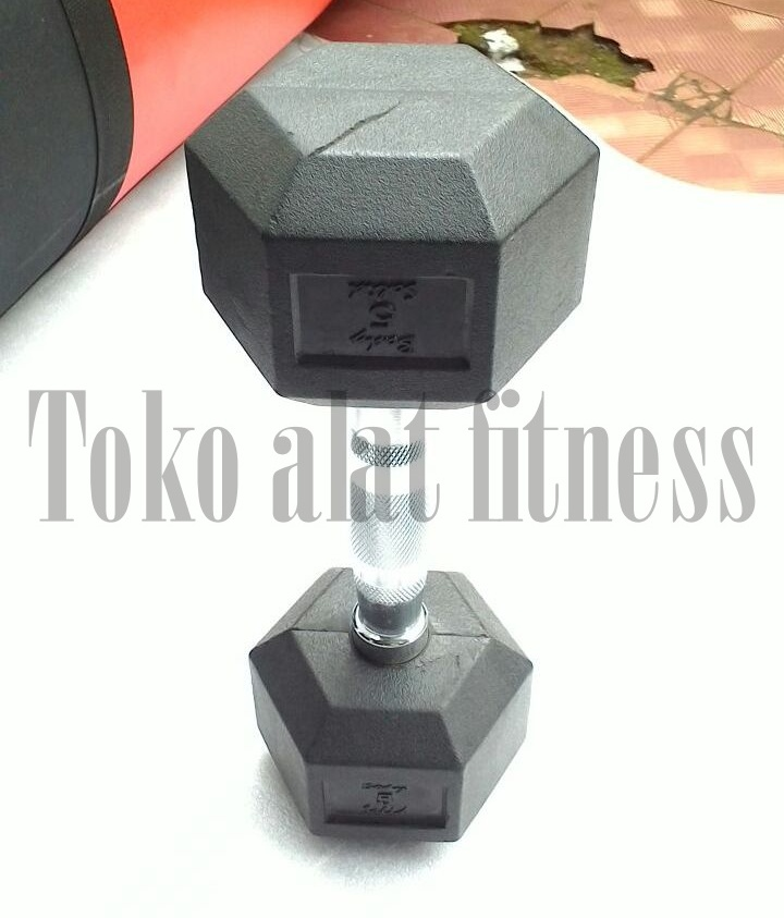 dumbell rubber hex 5kg a - Dumbell Rubber HEX 5 Kg Body Gym
