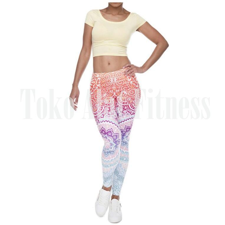 Legging Aztec Round Ombre Fitness Orange c - Legging Ombre Fitness Orange Aztec - ASSPF4A