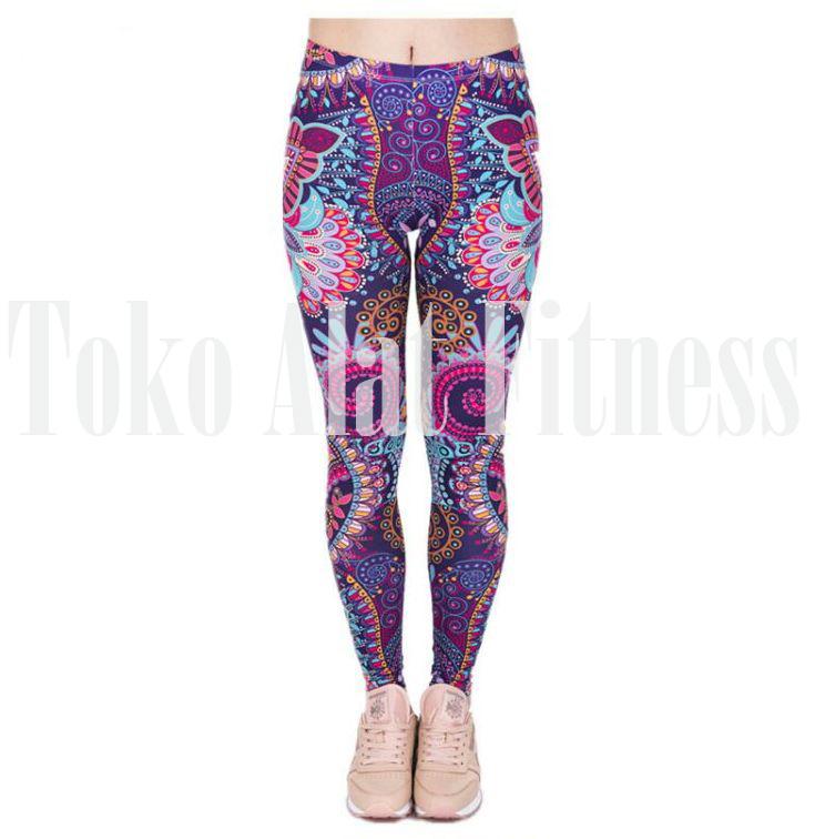 Leggings Mandala Mint Print Fitness Ungu c - Legging Fitness Purple Mandala