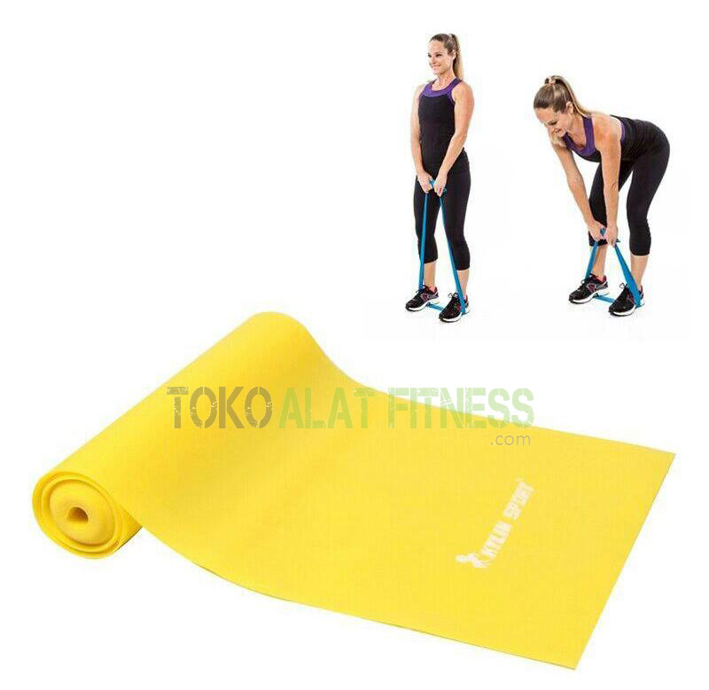 Latex Stretching Belt Pull Strap 04mm wtr - Latex Stretching Belt Pull Strap 2m, 0.4mm, Kuning Body Gym