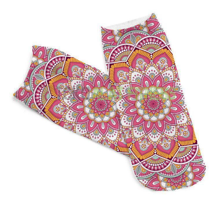 Yoga Sock Mandala orange 1 - Yoga Sock (Baby Pink) Mandala
