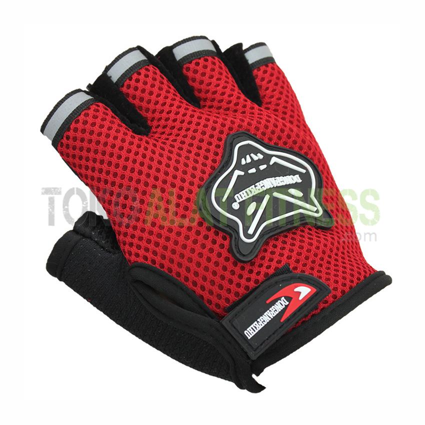 Sarung tangan merah wtm - Sarung Tangan Half Finger Merah Dongfangfeihu - ASSST23A