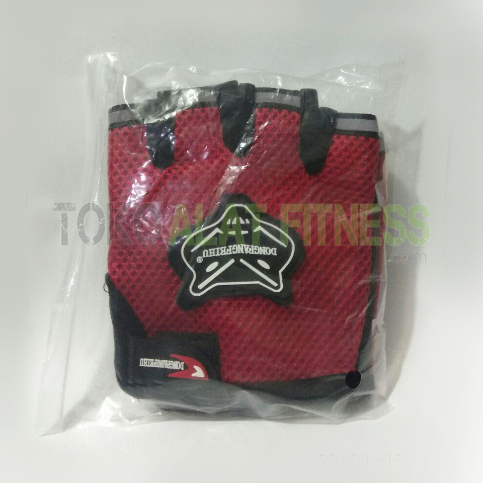 sarung tangan merah packing wtm - Sarung Tangan Half Finger Merah Dongfangfeihu - ASSST23A