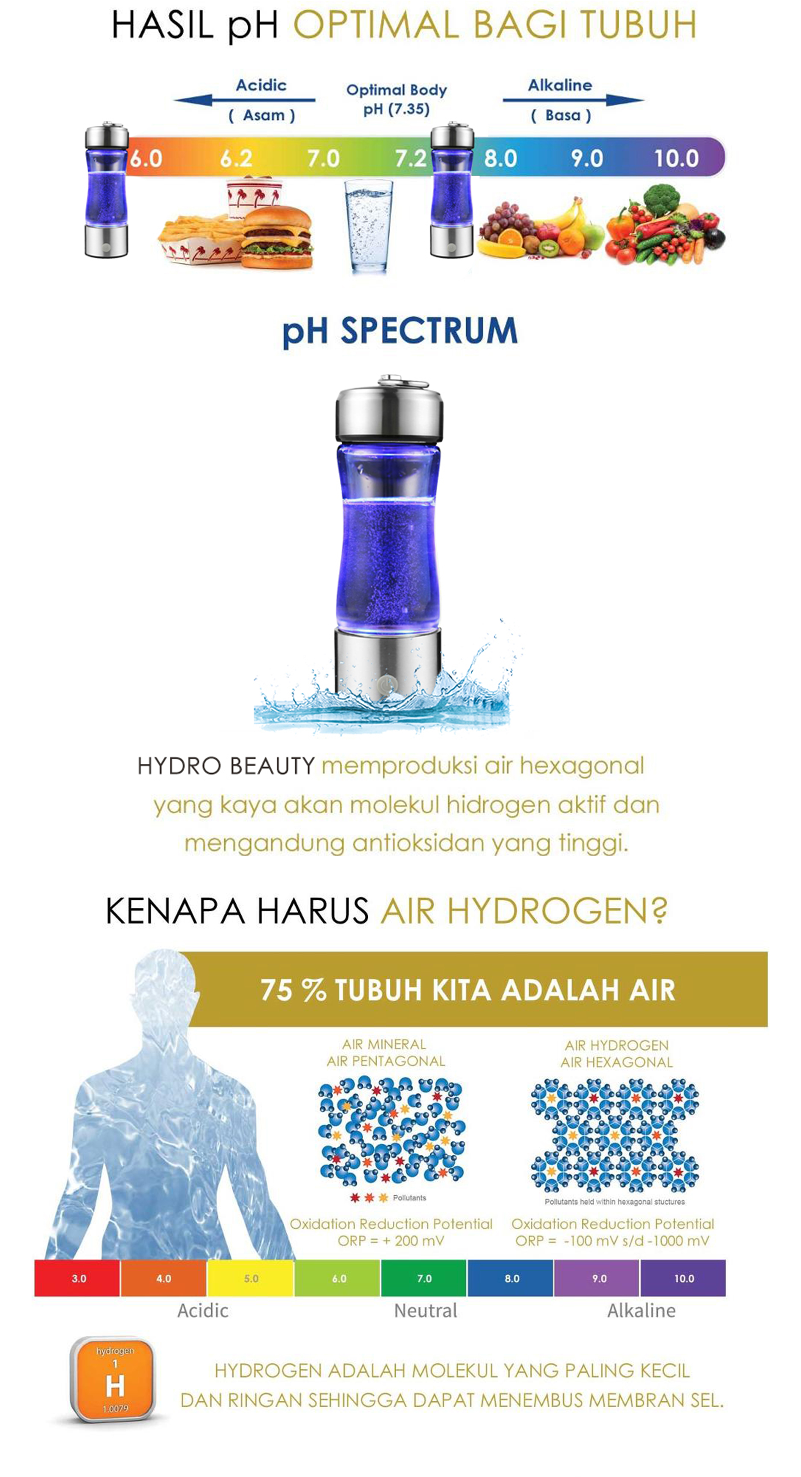 2 - Hydro Beauty Hydrogen Water Bottle Generator