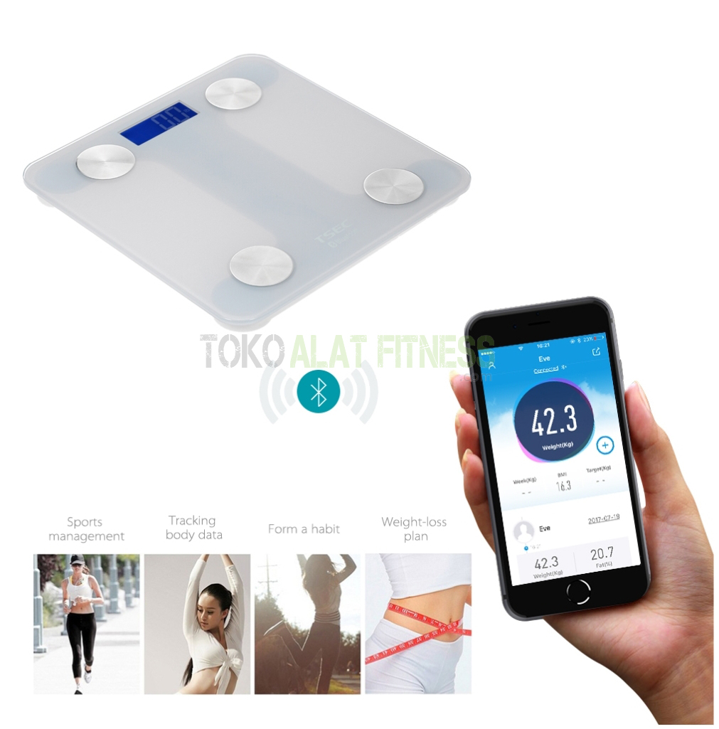 Body Scale with LCD Display Bluetooth m - Timbangan Body Scale With Lcd Display Bluetooth Putih Body Gym