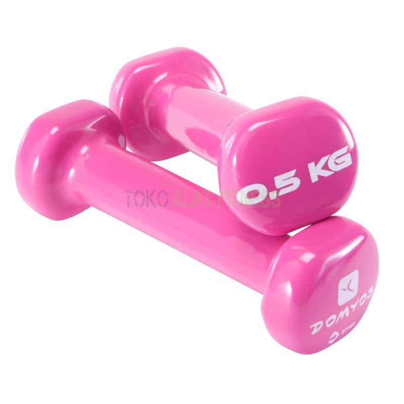 dumbell pink wtm - Dumbell PVC 0.5Kg, Domyos