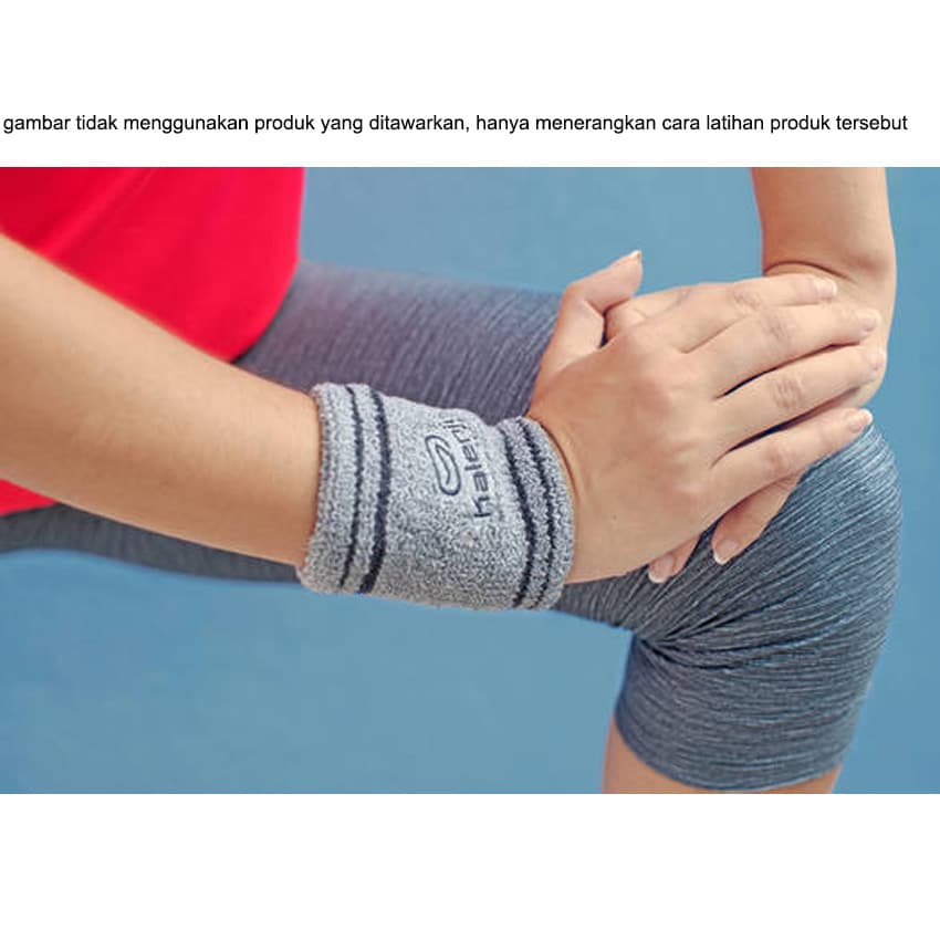 Kalenji Pocket Sponge Wrist cara 1 - Wrist Band Cotton Biru Kalenji