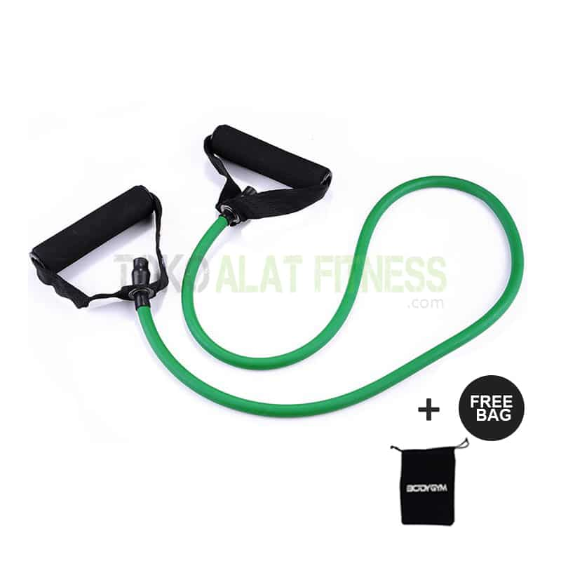 resistance tube ijo wtm - Body Gym Resistance Band / Strap with Handle, Hijau 25-30 Lbs