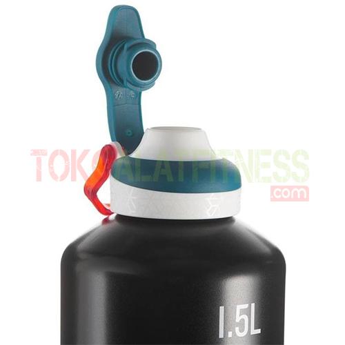 Quechua 1.5L Black 2 wtm - Quechua Botol Minum Quick-Open Aluminium 1.5 L, Hitam
