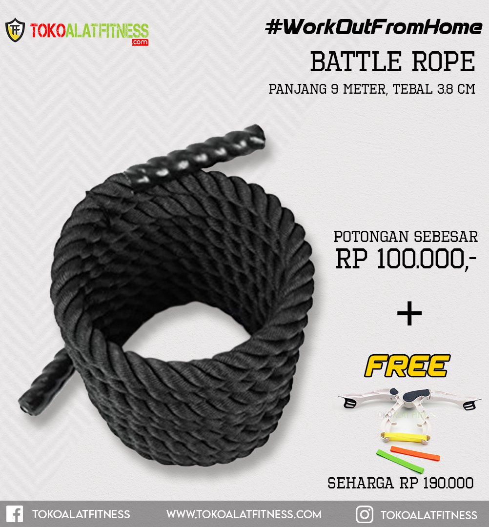 Paket 10 Battle Rope - Workout From Home - Battle Rope 9M 3.8CM Body Gym