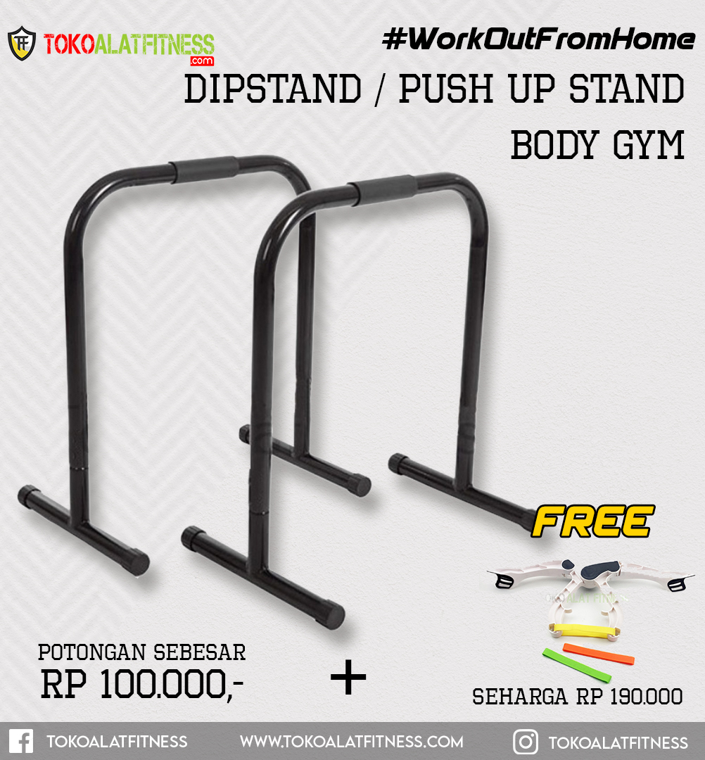 Paket 11 Dipstand Push Up - Workout From Home - Dipstand / Push Up Stand Hitam Body Gym