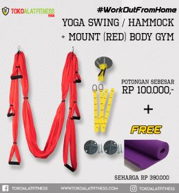 Paket 7 Yoga Swing Merah 260x280 - Workout From Home - Yoga Swing / Hammock + Mount Red Body Gym