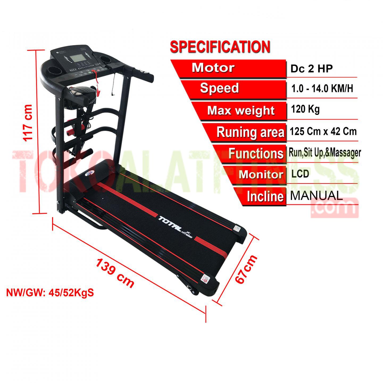 sewa alat fitness treadmill SBGT618 2HP DC spesifikasi - Treadmill BGT618 2HP DC Body Gym