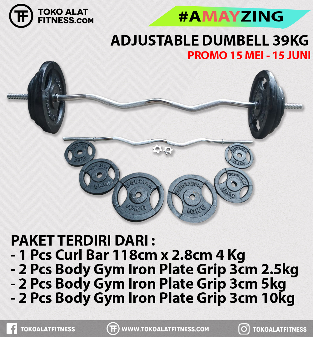 2 1 - PROMO BUNDLING A MAY ZING ADJUSTABEL CURL BAR  SET 39 KG