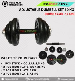 adjustble barbet set 30kg 1 260x280 - BUNDLING ADJUSTABLE DUMBELL SET 30KG