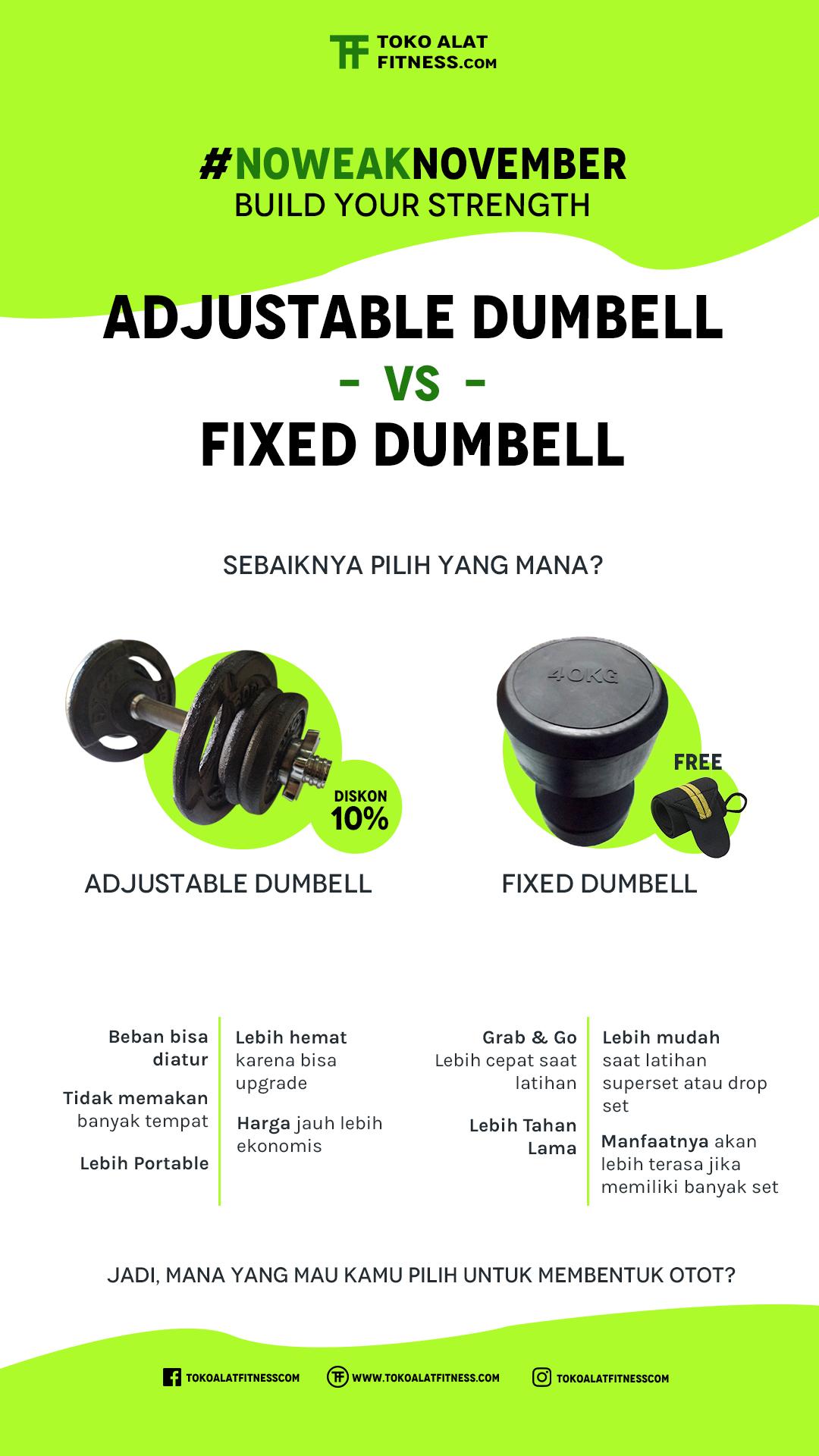 Adjustable Dumbell atau Fixed Dumbell sebaiknya pilih mana toko alat fitness com jual sewa servis alat fitness - Adjustable Dumbell atau Fixed Dumbell, sebaiknya pilih mana?
