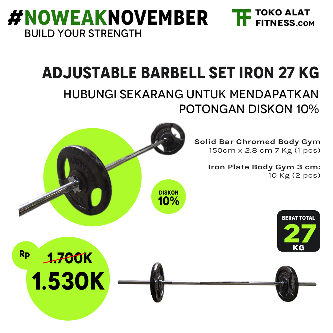 Promo Barbell set 27 Kg alat fitness premium quality dari tokoalatfitnesscom - Promo Adjustable Barbell Set Iron 27 Kg