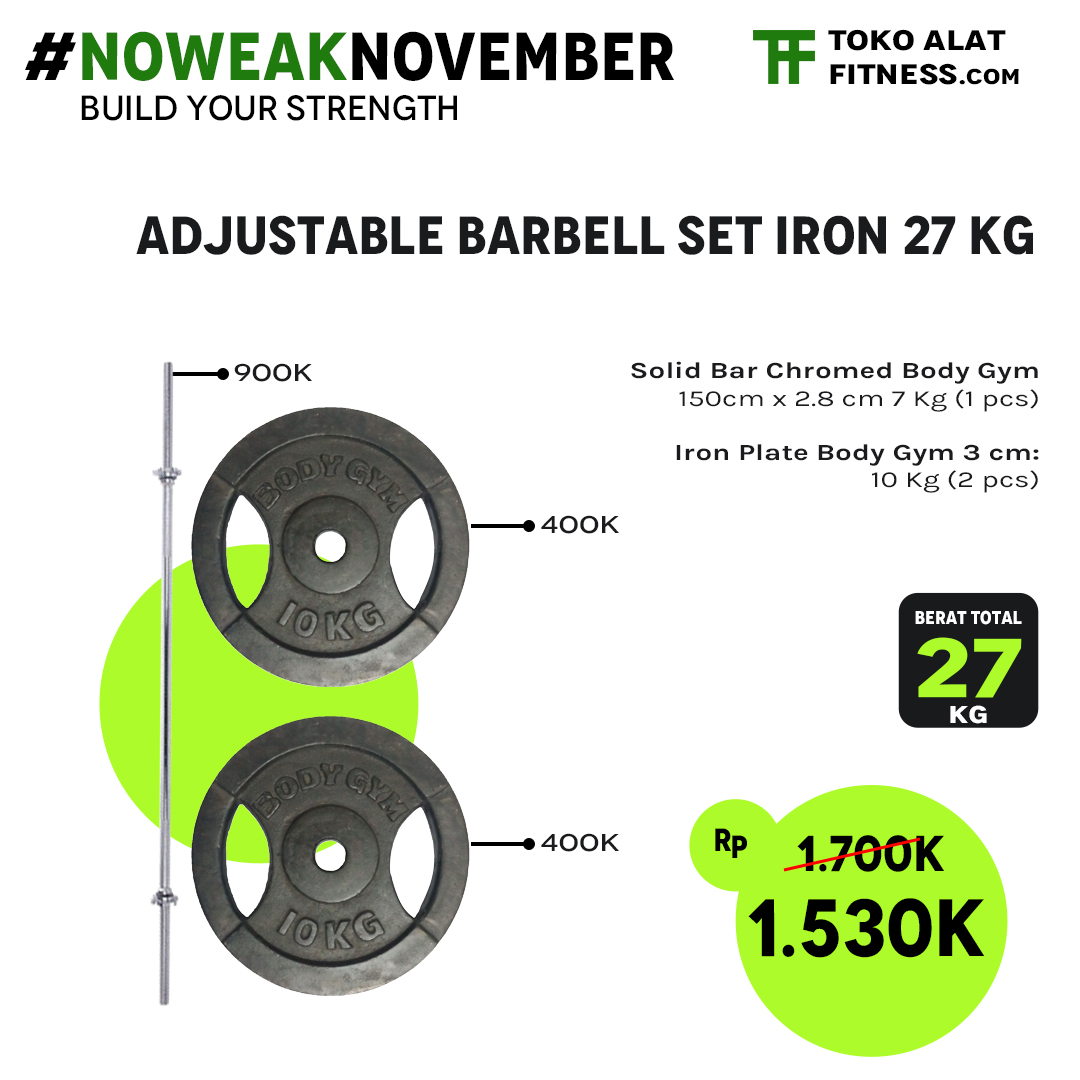 Promo Barbell set 47 Kg detail copy alat fitness premium quality dari tokoalatfitnesscom - Promo Adjustable Barbell Set Iron 27 Kg